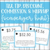 Tax, Tip, Discount, Commission, & Markup Scavenger Hunt Activity