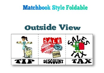 Tax. Tip, Discount Cut & Paste Foldable Activity +FREE WORKSHEET