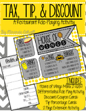 Tax/Tip/Discount Differentiated Restaurant Role Play Activity