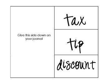 Tax, Tip, Discount Foldable