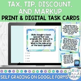 Tax, Tip, Discount, Markup Task Cards Print and Digital on