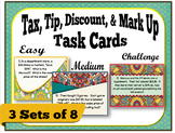 Tax, Tip, Discount, & Markup Word Problem Task Cards