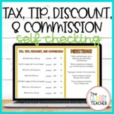 Tax, Tip, Discount, and Commission Self Checking Activity