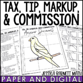 Tax, Tip, Markup and Commission Activity - Solve and Sketch