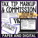 Tax, Tip, Markup, and Commission Posters | Distance Learning | Digital and Print