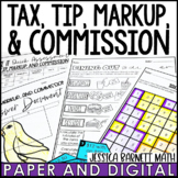Tax, Tip, Markups and Commission Lesson Bundle | Distance Learning | Digital