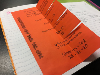 Tax, Tip, and Discount Foldable Notes