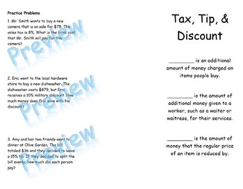 Tax, Tip, and Discount Foldable and Problem Solving Coloring Activity