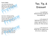 Tax, Tip, and Discount Foldable and Problem Solving Colori