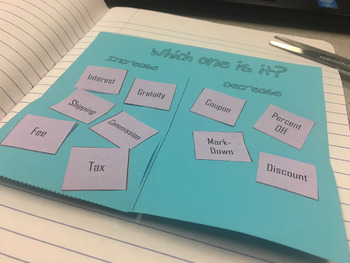 Tax, Tip, and Discounts: Increase or Decrease? Foldable Notes