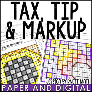 Tax, Tip, and Markup Coloring Page Activity