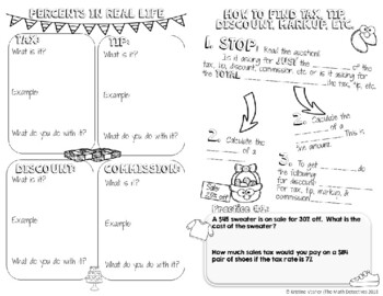 Tax, Tips, & Discounts - Decorated Notes Brochure for Interactive Notebooks