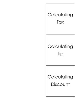 Tax, Tips, Discounts Foldable Notes (fill in the blanks)