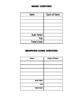 Tax and Tip Activity