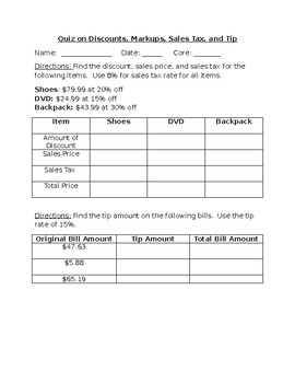 Tax, tip, Markup, and Discount Quiz by Lindsey Hilton   TpT