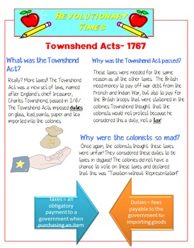 Colonial America: Taxation Without Representation Foldable and Task Cards