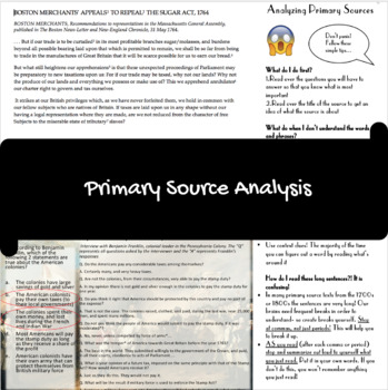 Taxation without Representation Primary Source Investigation Lesson