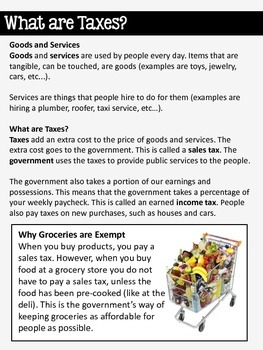 All About Taxes Informational Text Study