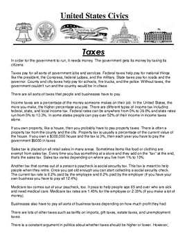 Taxes Civics Article and Assignment