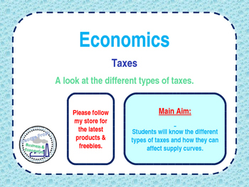 Taxes - Direct & Indirect Taxes - Economics - PPT & Worksheet