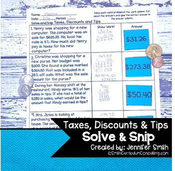 Taxes, Discounts and Tips Word Problems | Solve and Snip® | Math Station