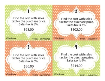Taxes & Impuestos - Bilingual Task Cards