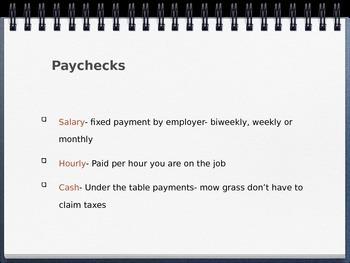 Taxes, Insurances & Paychecks Powerpoint