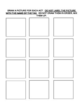 Taxes Leading to American Revolution worksheet and game