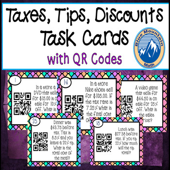 Taxes, Tips and Discounts Task Cards with QR Codes