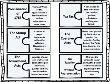 Taxes and Acts of the Revolutionary War Puzzle Activity