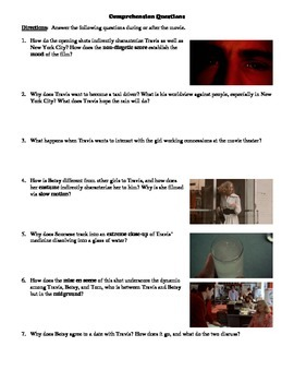 Taxi Driver Film (1976) Study Guide Movie Packet
