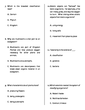 Taxonomic Classification of Living Things Quiz, Test, or WS MOD