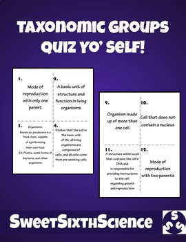 Taxonomic Groups Quiz Yo' Self Cards