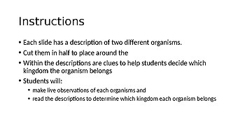 Taxonomic Kingdoms Match Up Stations Organism Cards