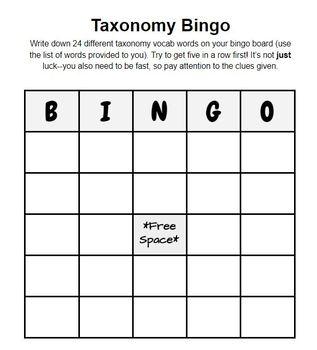 Taxonomy Bingo
