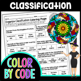 Taxonomy & Classification Science Color By Number or Quiz
