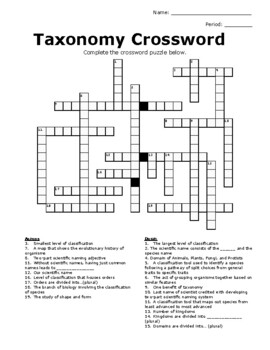 Taxonomy Crossword Puzzle