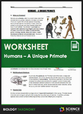 Worksheet - Taxonomy - Humans - A Unique Primate - Distance Learning