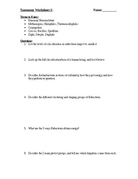 Taxonomy Kingdom Worksheets