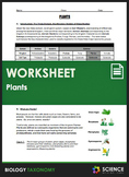 Worksheet - Taxonomy - Plants - Distance Learning