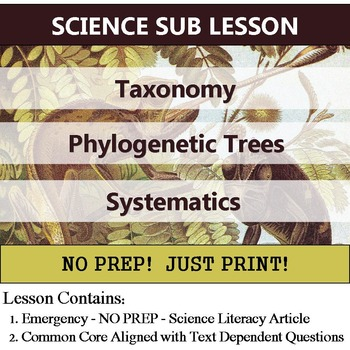 Taxonomy - Science Literacy Article for Homework or SUB Lesson