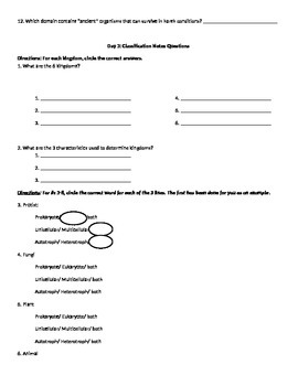 Taxonomy Unit Notes and Worksheets
