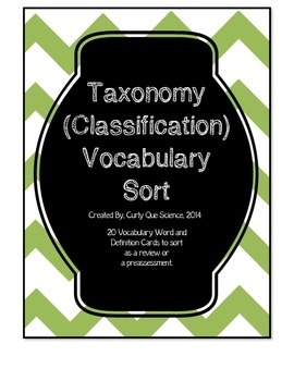 Taxonomy (Classification) Vocabulary Sort
