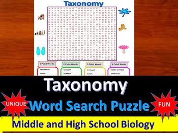 Taxonomy -  a fun & unique Word Search Puzzle (Grades 7-12)