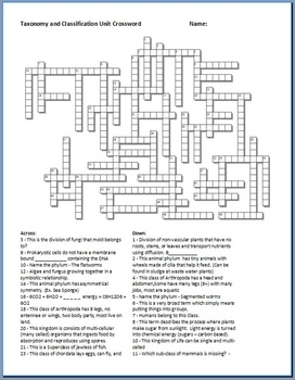 Taxonomy And Classification Crossword Puzzle