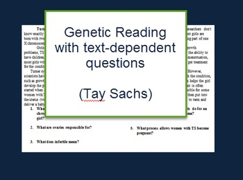 Genetics: Tay-sachs reading and questions