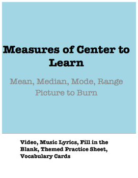 Taylor Swift Math: Measures of Center (Picture to Burn Parody, Practice, Vocab)