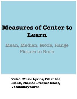 Taylor Swift Math: Measures of Center (Picture to Burn Par