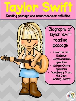 Taylor Swift Reading Passage with Comprehension Activities
