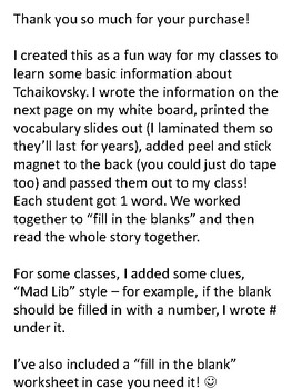 """Tchaikovsky """"Fill in the Blank"""" music class activity"""